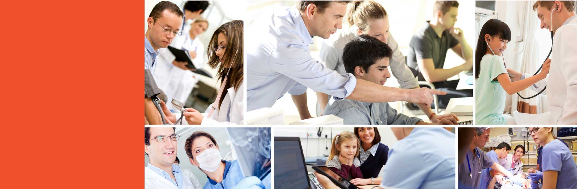 collage of doctors and patients interacting